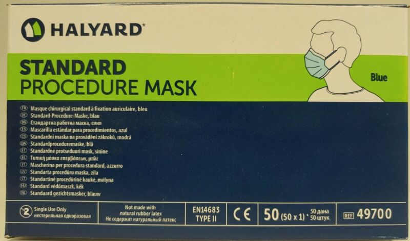 Halyard BLUE Standard Procedure Face Masks (50 Pack Box) Product Of USA
