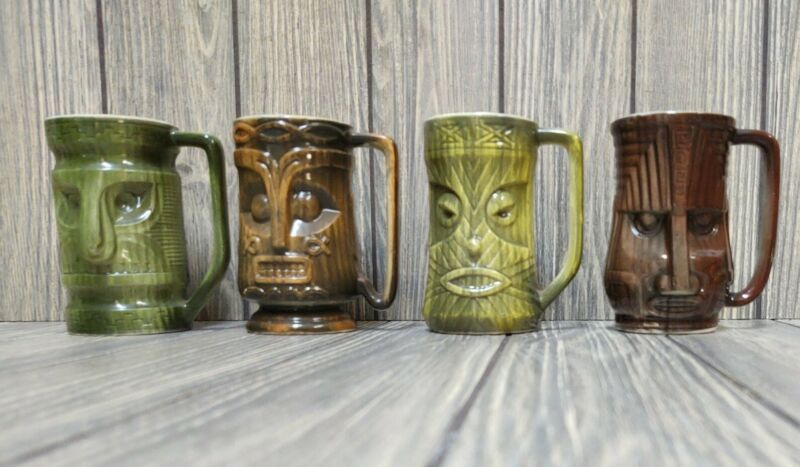 """🍍Vintage Set of 4 Westwood Tiki Hawaiian Mug Ceramic 4"""""""