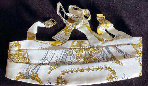 Authentic Hermes Silk Bow Tie Cummerbund Set Gold Clasp In Original Box  VV805