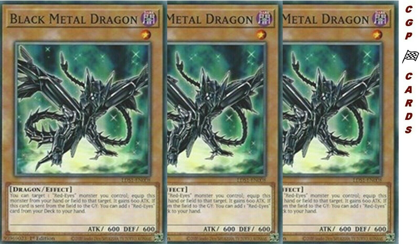 3x Black Metal Dragon YuGiOh! LDS1-EN008 Common 1st Edition NM/Mint