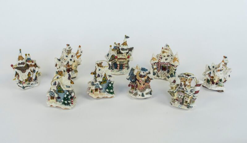 Miniature Enchanted Houses Snow Covered Ornaments