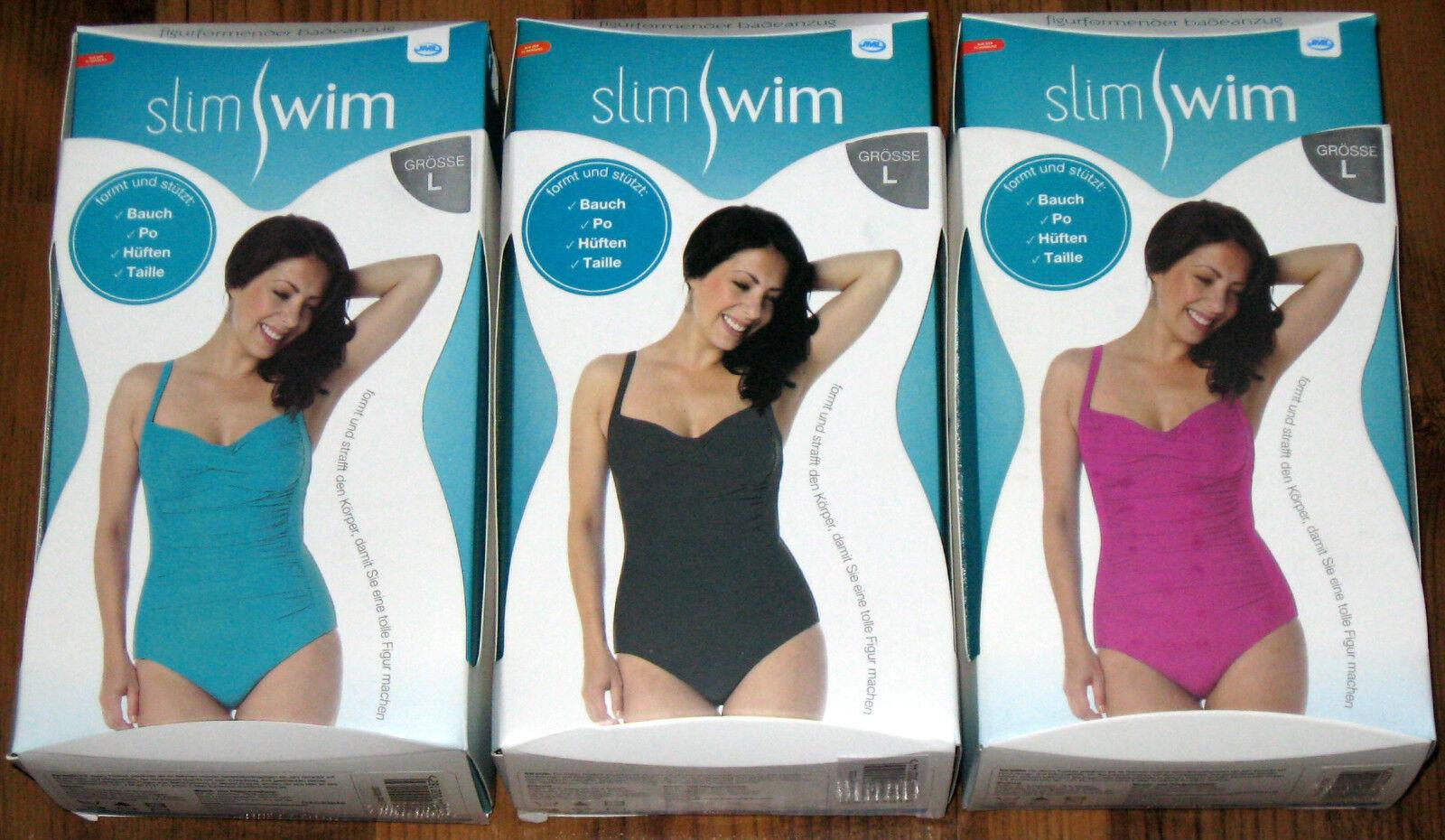 Belvia Slim Swim figurformender Badeanzug Gr. M, L, XL, XXL Schwarz Türkis Beere