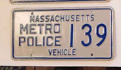 1980s  OBSOLETE MASSACHUSETTS METRO Police License Plate  #139