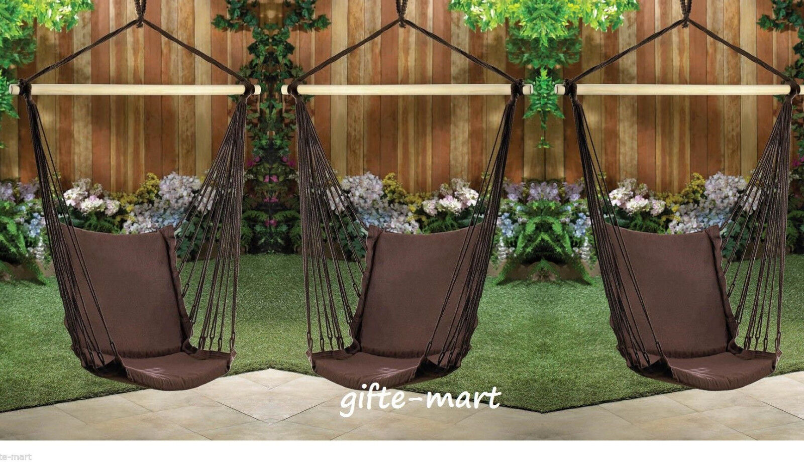 3 lot brown Cotton padded Swing hammock hanging outdoor Chai