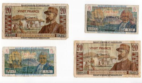 Saint Pierre Et Miquelon Lot of 4 Notes 20 & 5 Francs Average Fine Condition