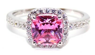 Sterling Silver Pink Sapphire And Diamond 2.65ct Ring (925) Size 6 (L) Free Box