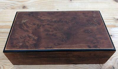 Vintage Small Hinged Walnut Veneer and Ebony Box In Need of Renovation
