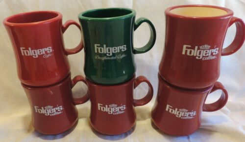 6 Vintage FOLGERS COFFEE Mugs includes a Decaf