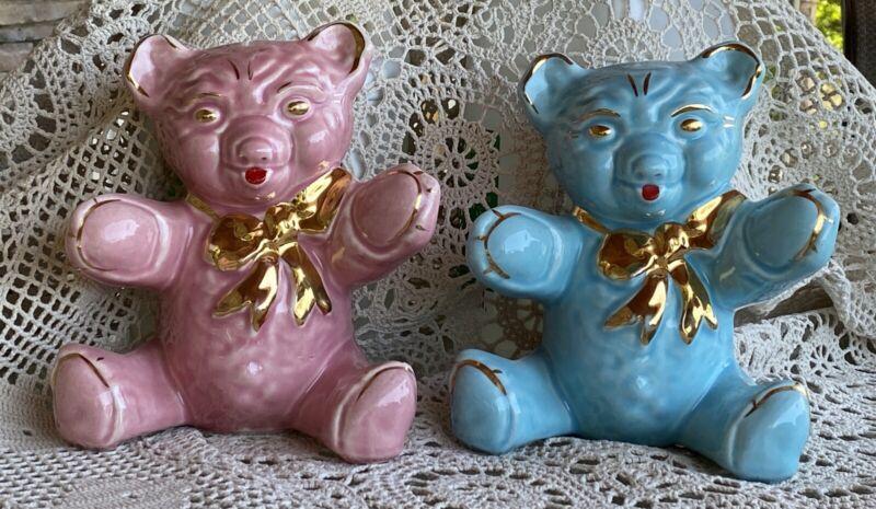 Vintage Large Black Teddy Bear Piggy Bank with Gold Bow Trim Pink & Blue