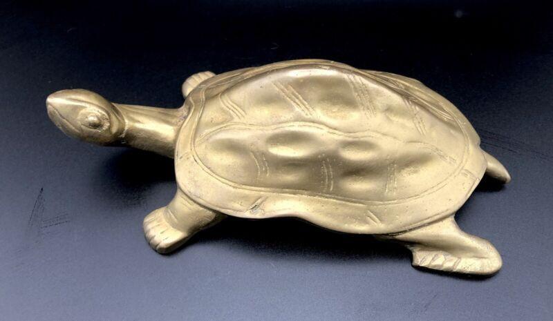 "Vintage Brass Turtle Figurine 7"" x 4"""