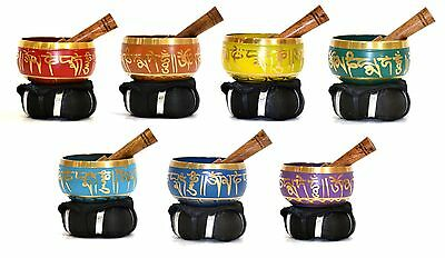Seven 7 Chakra Set TIBETAN Meditation SINGING BOWL MALLET CUSHION Reiki Yoga
