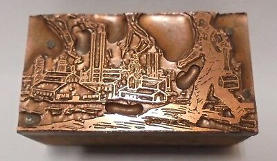 Vintage Letterpress Printing Block Cut Man Walking To Work At The Factory