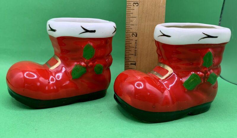 "vintage pair ceramic Santa Claus boots candles NOS 2 1/4"""