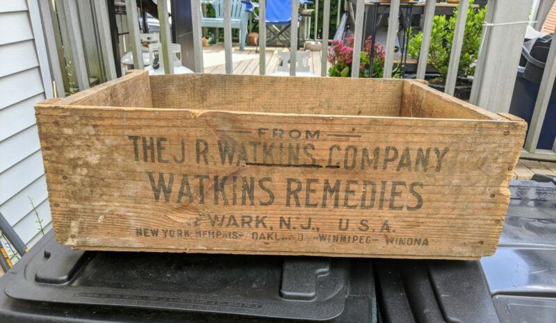 Antique Wood Crate J.R. Watkins Company Watkins Remedies Rare 1800