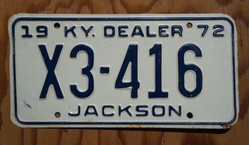 1972 Jackson County Kentucky DEALER License Plate