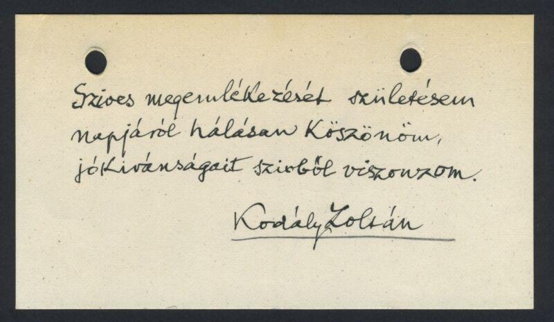 Zoltán KODALY (Composer): Autograph Note