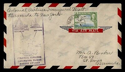 DR WHO 1947 BERMUDA FIRST FLIGHT COLONIAL AIRLINES HAMILTON TO NY C244317