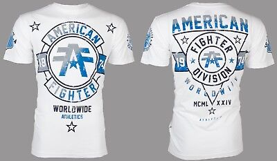 AMERICAN FIGHTER Mens T-Shirt SILVER LAKE Athletic WHITE Biker Gym MMA UFC $40