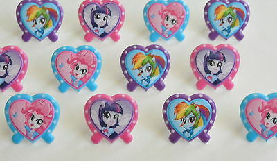 12 My Little Pony Cupcake Rings Topper Kid Bday Party Goody Bag Favor - My Little Pony Rings