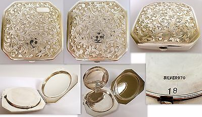GORGEOUS Rare Antique Vtg Japanese 970 Sterling Silver Chased Etched Compact