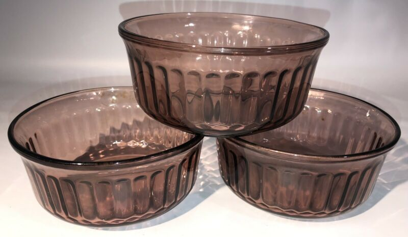 Mexico Ribbed Depression Glass Dessert Bowl Vintage Set of 3 Purple Brown