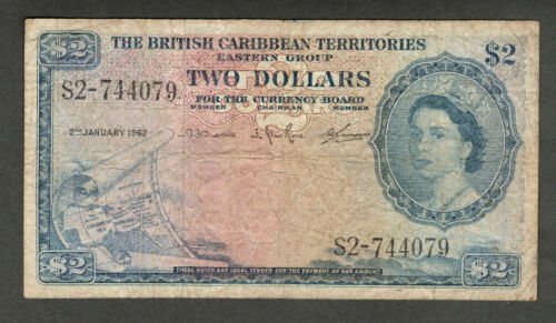 THE BRITISH CARIBBEAN TERRITORIES 1962 $2 TWO DOLLAR NOTE P8c