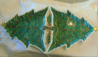 Vintage Italian Pottery Double HP Large Christmas Trees Serving Dish Chip Dip ()