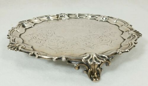 ANTIQUE 1849 ENGLISH STERLING SILVER SALVER BY EDWARD & JOHN WILLIAM BARNARD