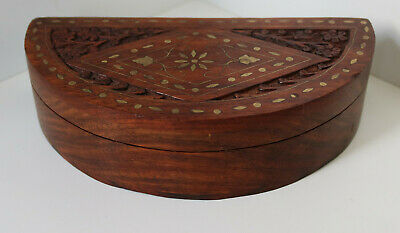VINTAGE HAND MADE CARVED WOODEN BOX / BRASS INLAID JEWELLERY ANTIQUE CHEST / 14