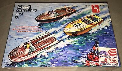 AMT Customizing Boat Runabout Speedboat Dragster 3in1 1/25 model kit new 1056