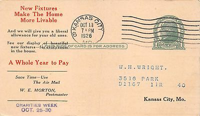 KANSAS CITY MO POWER & LIGHT COMPANY~SERVICE BILL POSTCARD 1926 - Party City Kansas City Missouri
