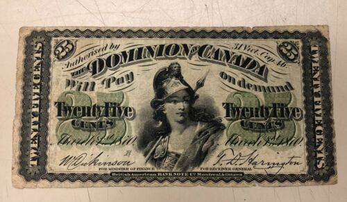 1870 Dominion of Canada Twenty-Five Cents Banknote
