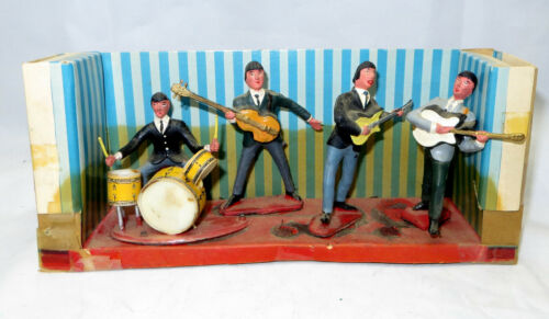 """Vintage 1960s """"The Beatles"""" Cake Topper Figurines Swingers 5 Pieces & Stage"""