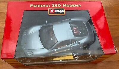 FERRARI 360 MODENA SILVER 1/18 ITALIAN BURAGO - FACTORY SEALED! Ferrari 360 Cars
