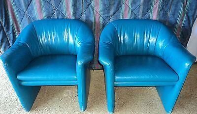 Vintage Miami Blue Leather Chairs Metropolitan Furniture Co  1987 Jules Heumann
