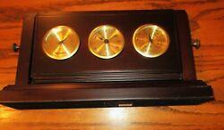 BOMBAY brown gold desktop quartz clock Hygrometer Thermometer desk mantel shelf