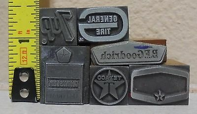 Vintage Lot Of 6 Printing Blocks Letterpress Gas Oil Soda....texaco 7up Bf Tire