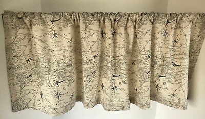 Breeze Window Valance - Valance Off-White and Gray Air Travel Map Theme Custom Made Window Treatment