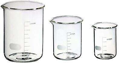 Sciencent Borosilicate Glass Low Form Glass Beaker 50100250 Pack Of 3