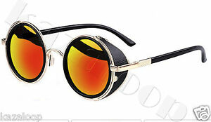 Mirror lens Round Glasses Cyber Goggles Steampunk Sunglasses Vintage Retro