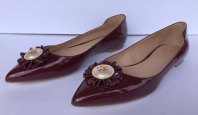 TORY BURCH burgundy patent flat shoe Size 6.5 6 1/2