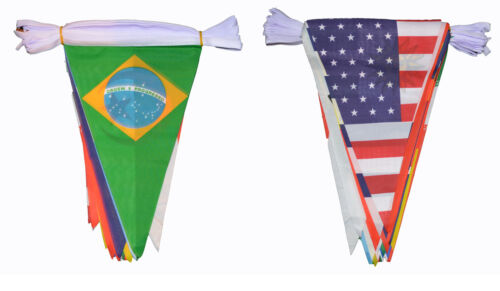 MULTI NATION 11.5 METRE BUNTING 32 FLAGS 32 COUNTRIES BRAZIL ENGLAND FLAG