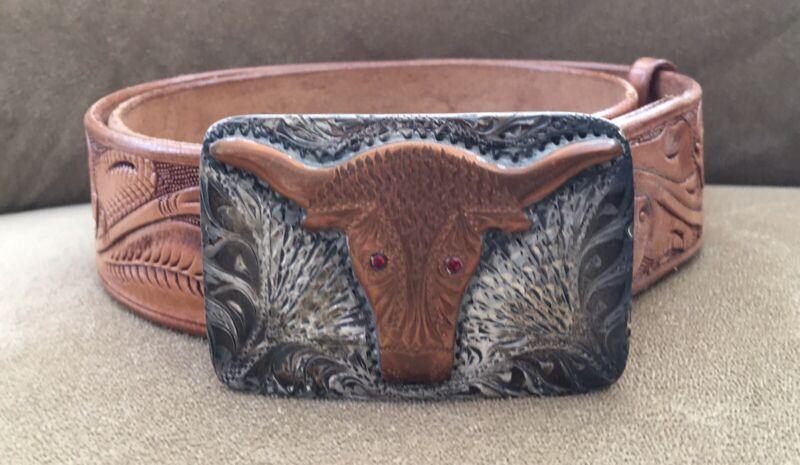 VTG Custom Ruby Eyed Longhorn Sterling & Bronze Belt Buckle & Hamley Belt Set