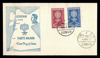 DR WHO 1962 JORDAN FDC ANTI MALARIA CACHET COMBO  g12147