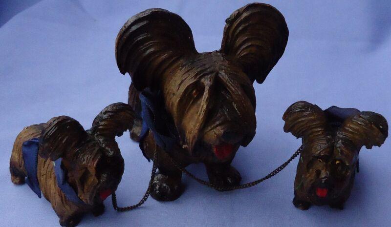 1940 PAPILLON SKYE SILKY YORKSHIRE TERRIER BRIARD DOG MOM & PUPS