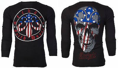 Flag Thermal Shirt - Archaic AFFLICTION Mens THERMAL T-Shirt PATRIOT Skull USA FLAG Biker M-3XL $58