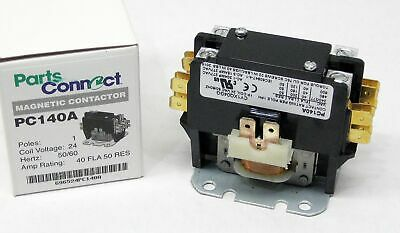 Pc140a Contactor Single One 1 Pole 40 Amps 24 Volts Ac Air Conditioner New