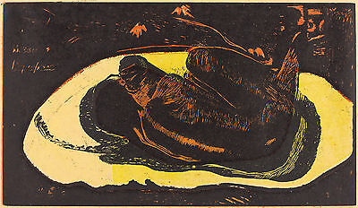 Gauguin Woodcuts: Haunted by the Spirit (Manoa Tupapau), #2 - Fine Art Print
