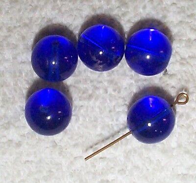 VINTAGE DELIGHTFUL GERMAN 12MM COBALT BLUE GLASS BEADS 10 PIECES    BLUE