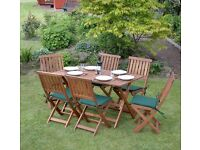 COMPLETELY BRAND NEW STILL BOXED 7 Piece Large Wooden Garden Furniture Set Folding (Kingfisher)